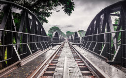 世界大战历史铁路金属桥梁,河Kwai,泰国 免版税库存图片