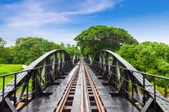 世界大战历史铁路金属桥梁,河Kwai,泰国 图库摄影