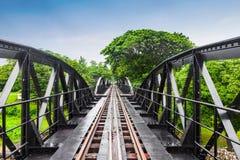 世界大战历史铁路金属桥梁,河Kwai,泰国 免版税库存照片