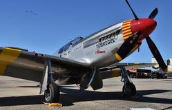 世界大战II时代Tuskegee空军P-51野马红色尾巴分谴舰队 免版税库存照片
