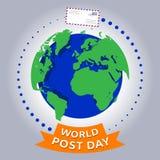 世界岗位天或国际邮政天传染媒介设计 库存例证