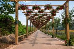 世界庭院的花走廊在巴南,重庆 库存图片