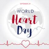 世界心脏天卡片、线心脏在心脏脉冲踪影和地球 免版税库存图片