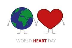 世界心脏天地球和心脏举行手动画片 库存例证