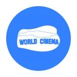 世界戏院在白色背景在黑样式的标志象隔绝的 美国国家标志股票传染媒介例证 免版税库存照片