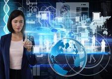 世界技术接口和女实业家感人的空气在科学技术背景前面 图库摄影
