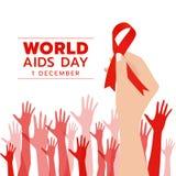 世界援助与手举行红色丝带标志和手抽象背景传染媒介设计的天 库存例证