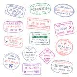 世界旅行城市护照传染媒介象盖印 免版税库存图片