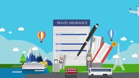 世界旅行的,游览旅行保险 飞机票 例证动画(包括的阿尔法) 股票视频