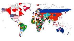 世界旗子地图 免版税库存照片
