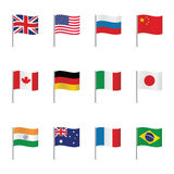 世界旗子 动画片重点极性集向量 免版税图库摄影