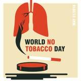 世界无烟草日概念横幅或海报,传染媒介例证 库存例证