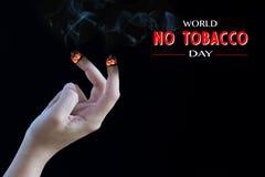 世界无烟草日, 5月31日 抽烟的终止 免版税库存照片