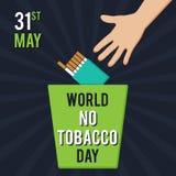 世界无烟草日 例证为假日 一个人投掷一盒香烟入垃圾 免版税图库摄影