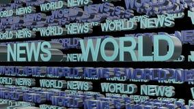世界日报使成环的文本 库存图片