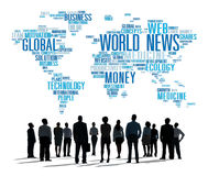 世界日报全球化广告事件媒介信息概念 免版税库存照片