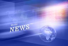 世界日报背景、新闻文本和地球地球在运动前面 库存图片