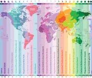 世界时区导航与国名和边界的地图 皇族释放例证