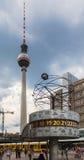 世界时钟电视塔Alexanderplatz柏林 库存图片