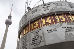 世界时钟alexanderplatz柏林德国 库存照片