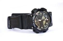 世界时间在白色背景的手表黑色 免版税库存照片