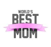 世界最佳的妈妈丝带标志例证设计 免版税图库摄影
