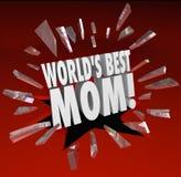 世界最佳的妈妈词断裂通过玻璃高级母亲 免版税图库摄影