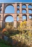 世界最大的砖桥梁Goltzschtalbrucke细节在普劳恩市附近的 库存照片