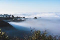世界有雾的小山的上面 库存图片