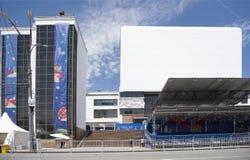 世界杯足球赛的爱好者区域在剧院正方形的2018年 库存照片