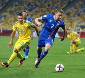 世界杯足球赛2018年合格的比赛乌克兰v冰岛 图库摄影