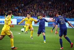 世界杯足球赛2014年合格者比赛乌克兰对法国 图库摄影