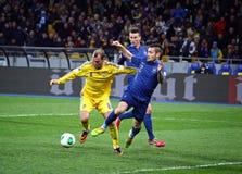 世界杯足球赛2014年合格者比赛乌克兰对法国 库存图片