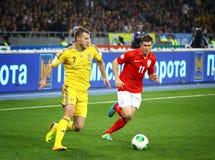 世界杯足球赛2014年合格者比赛乌克兰v英国 库存图片