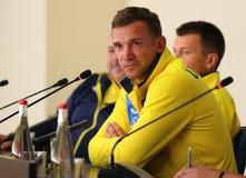 世界杯足球赛2018年乌克兰对土耳其,前比赛 库存图片