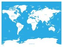 世界海洋学地图与海洋、海、海湾、海湾和海峡标签的  与白色土地和蓝色的传染媒介地图 库存例证