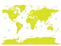 世界海洋学地图与海洋、海、海湾、海湾和海峡标签的  与绿色土地和白色的传染媒介地图 库存例证