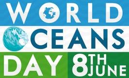 世界海洋天庆祝的,传染媒介例证增进蓝色和绿色海报 皇族释放例证