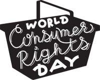 世界消费者权益在篮子剪影的天字法 免版税库存图片