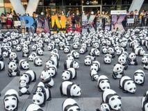 世界游览1,600熊猫在曼谷 图库摄影
