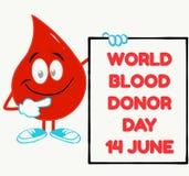 世界献血者与血液下落的天概念 向量例证
