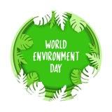 世界环境日创造性的海报或横幅  3d纸裁减eco友好的设计 r 纸雕刻的层数 皇族释放例证