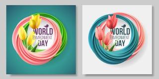 世界环境日卡片,在白色和绿色背景的横幅 颜色居住的珊瑚 6?5? 生态,生物,自然 向量例证
