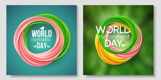 世界环境日卡片,在绿色背景的横幅 居住的珊瑚的抽象形式 6?5? 生态,生物,自然 皇族释放例证