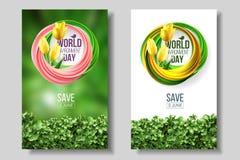 世界环境日卡片,横幅,在绿色和白色背景居住的珊瑚颜色6月5日生态生物自然的商标 皇族释放例证