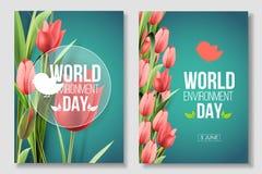 世界环境日在绿色背景的卡片横幅与花郁金香 颜色居住的珊瑚 6月5日eco生物自然 向量例证