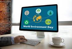 世界环境日地球地球生态树和绿色叶子w 图库摄影