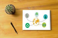 世界环境日地球地球生态树和绿色叶子w 免版税库存照片