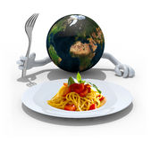 世界用手,在意粉盘前面的叉子 免版税库存图片