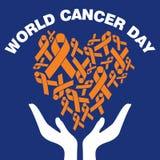 世界癌症天传染媒介模板 免版税库存图片